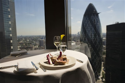 Restaurant overlooking London.