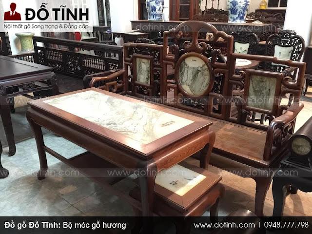 Bộ bàn ghế móc gỗ hương cho phòng khách đẹp miễn chê
