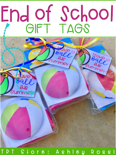 gift tags for end of the school year gift ideas - beach balls!