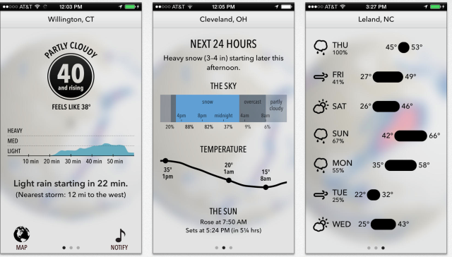 Weather Forcast App Dark Sky gets new design and has been updated