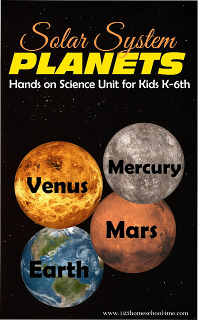 Inner Planets Hands on Science Unit for Kids K-6th Grade! Lots of fun ideas for kids learning about the solar system including Mercury, Venus, Earth, and Mars.
