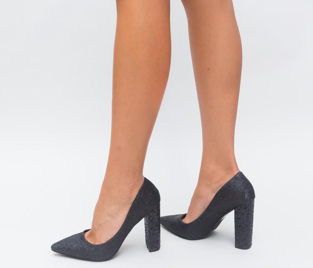 Pantofi Negri de ocazii din giltter eleganti si ieftini
