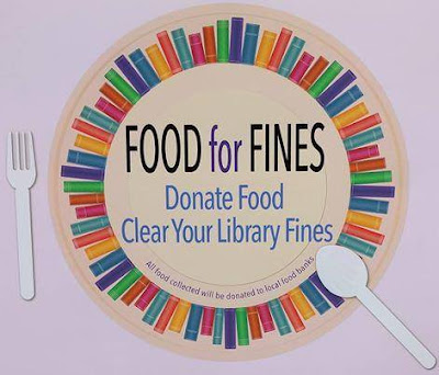 Logo, Sonoma County Library's 'Food for Fines.' Image depicts place setting with fork, plate and spoon. Outline of plate is denoted by representations of books, viewed spine-facing-outward, in varying sizes and colors. Text, printed upon surface area of plate, reads, 'Food for Fines / Donate Food / Clear Your Library Fines. All food collected will be donated to local food banks'