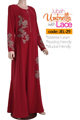Jubah Umbrella Lace JEL-29 Red Depan 1