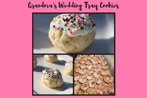these are an Italian wedding cookie that you will see on all cookie trays at the wedding. These are how to make Italian soft cookies for an Italian wedding that have anise flavoring or lemon flavoring. These are an assortment of both with candy sprinkles on top and frosting. These are round in size and always on the cookie tray at an Italian wedding and an authentic version of this old vintage cookie.