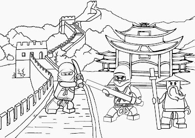 Wallpaper traditional Chinese landscape battles ambush Minifigure Ninjago Lego pictures to color in