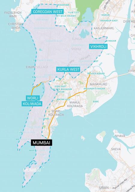 Mumbai uberPOOL coverage area