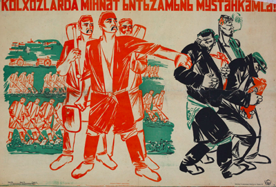 central asian soviet posters, uzbekistan art craft tours