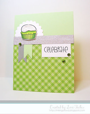 Celebrate card-designed by Lori Tecler/Inking Aloud-stamps from Paper Smooches