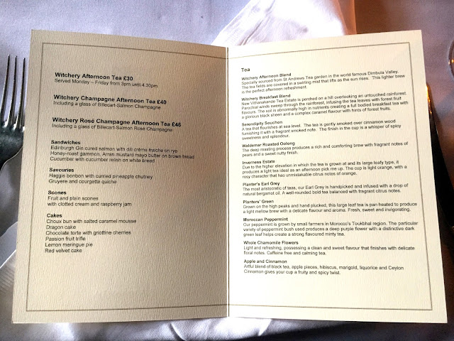 Afternoon tea menu in The Witchery by the Castle, Edinburgh