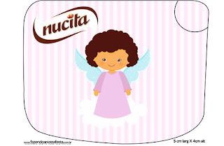 Brunette Angel Girl, Free Printable Nucita Labels.