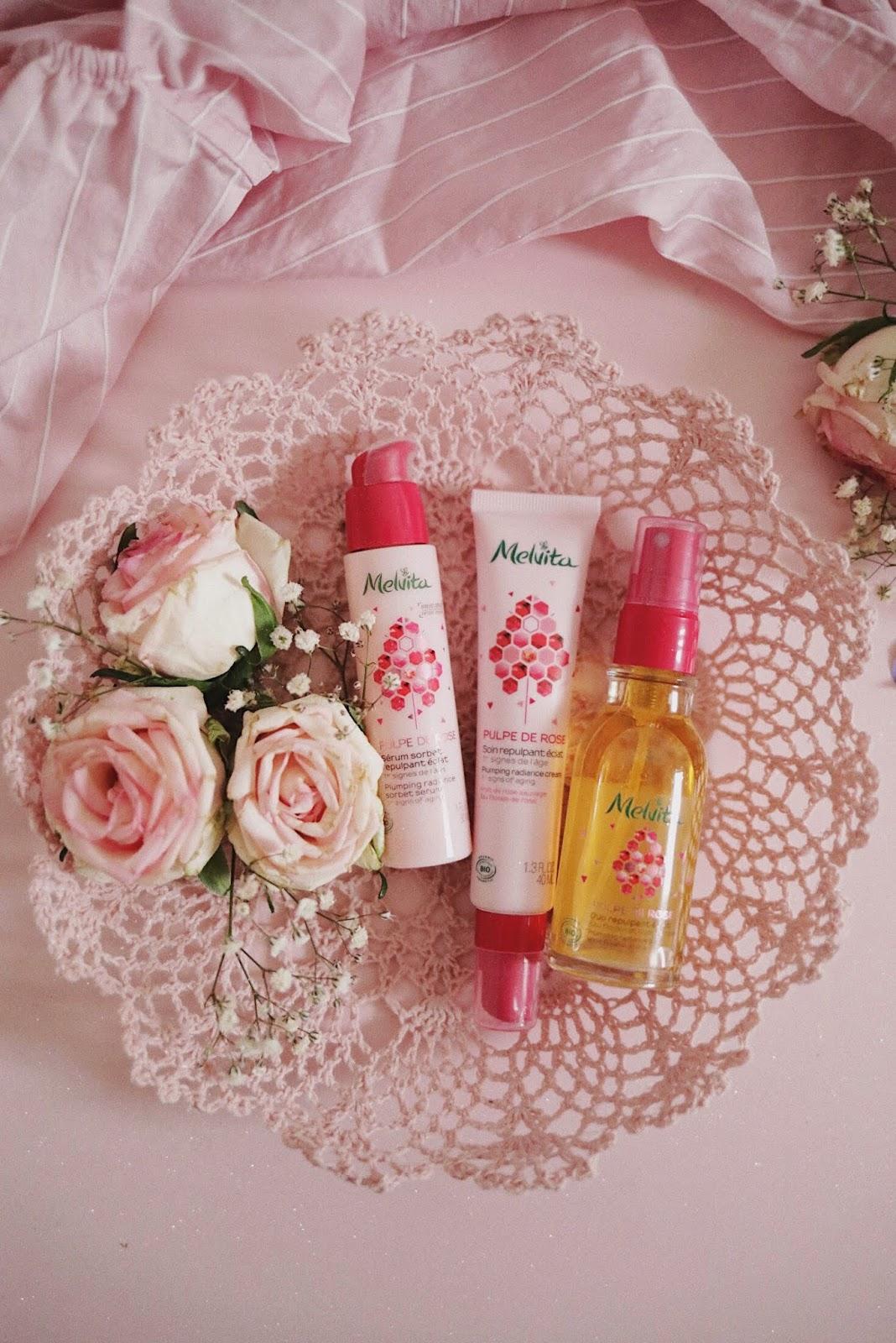 Melvita ,Pulpe de Rose, grenadine RP , rose mademoiselle, rosemademoiselle,rose