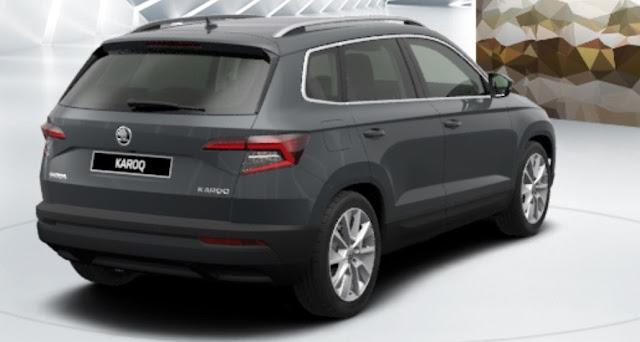 skoda karoq colore grigio quarzo metallizzato vista posteriore laterale 12