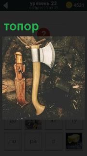 Блестящий острый топор, нож в чехле и чурбак рядом. Топор как раз и предназначен расколоть на дрова