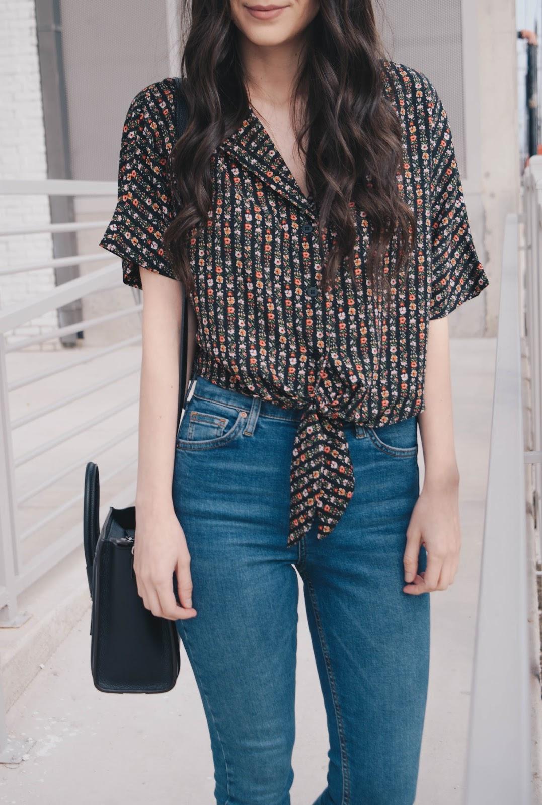 Topshop Stripe Ditsy Floral Crop Shirt