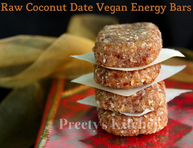 Preety S Kitchen Raw Coconut Date Vegan Energy Bars