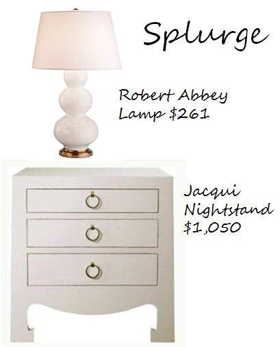 brass and white bedside decorating