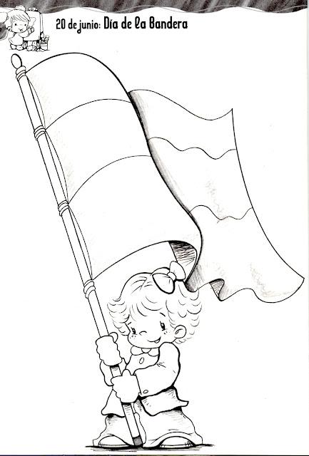 20 Junio día de la bandera para colorear