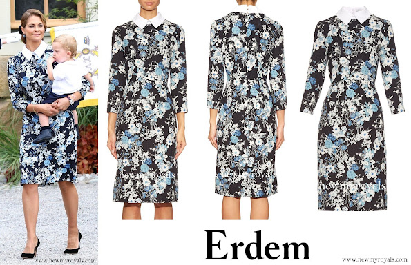 Swedish Princess Madeleine wore a Erdem Truman Floral  Matelassé Dress, style, fashions earrings, shoes, jewelery