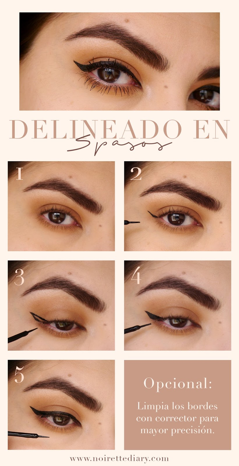 tutorial pictorial how to make black winged liner step by step classic makeup paso a paso como hacer delineador negro delineado afilado look clasico