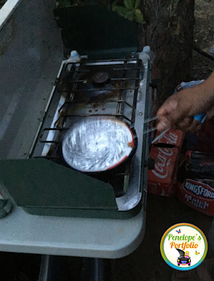 Popping popcorn on a camping stove