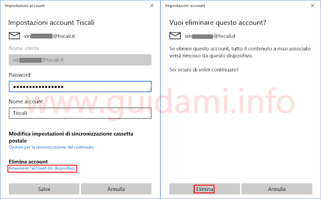App Posta Windows 10 eliminare account email