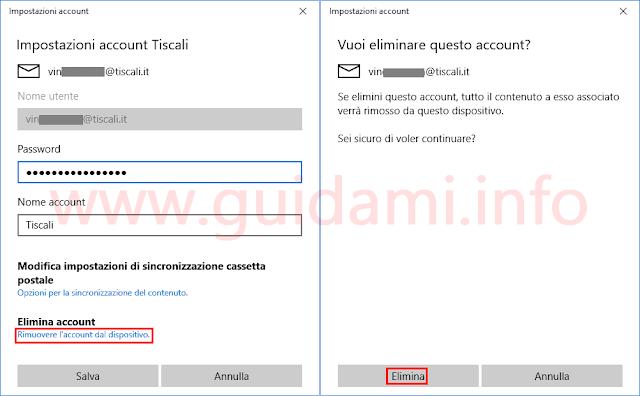 App Posta Windows 10 eliminare account email