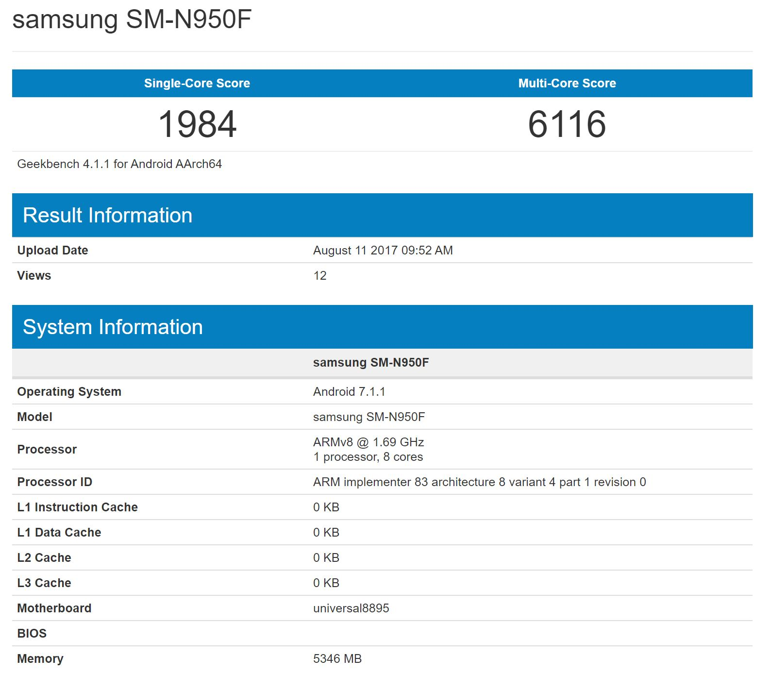 Galaxy Note 8 Appeared on Geekbench
