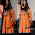 Orange Black Long Length Salwar