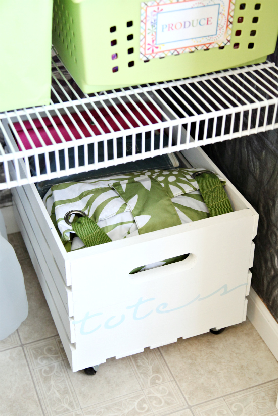 Organise your pantry with crates on rollers
