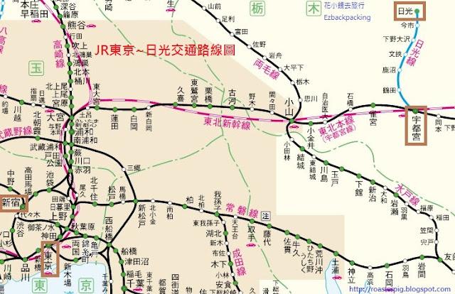 JR東京前往宇都宮路線圖
