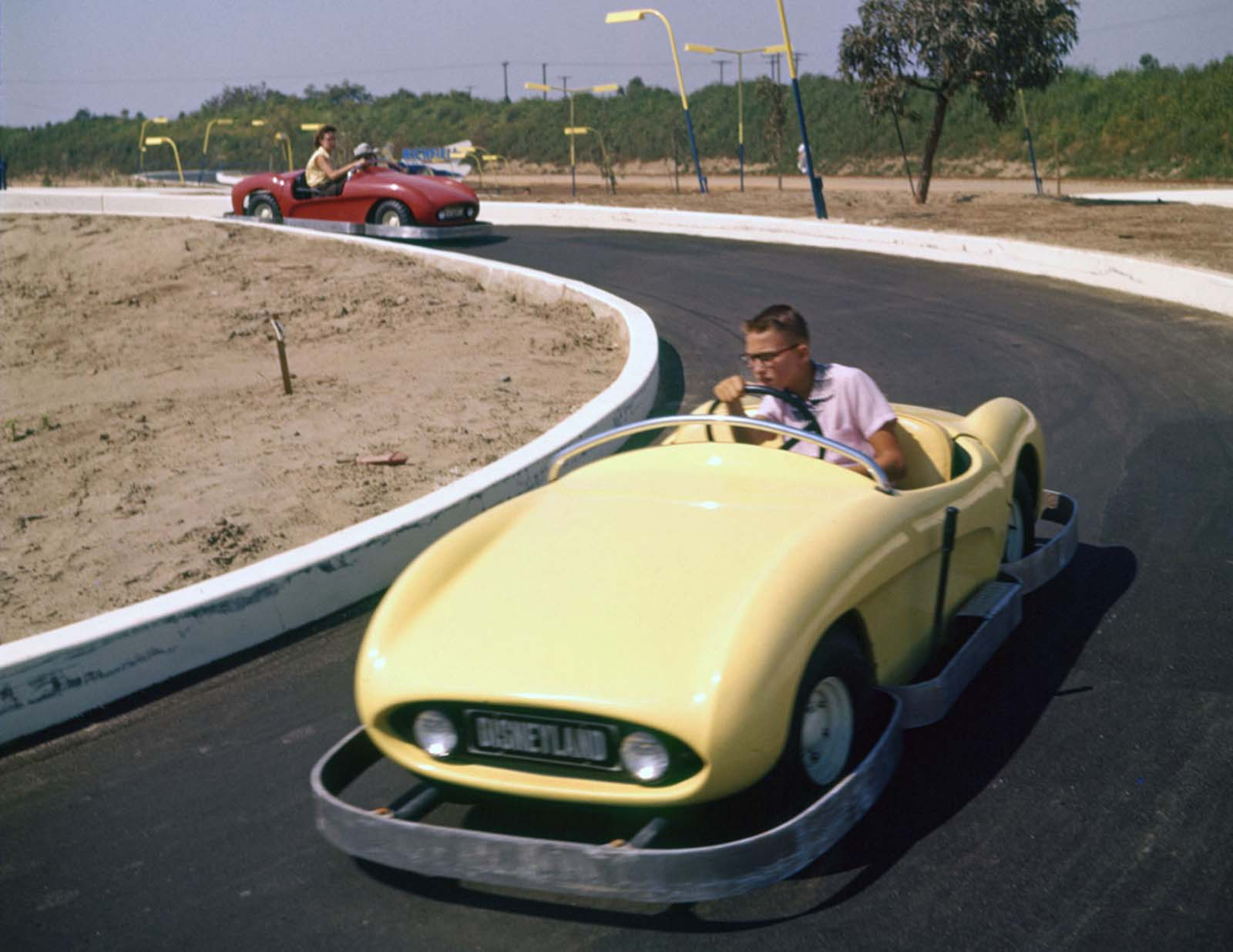 Guests enjoy the Autopia attraction on July 17, 1955.