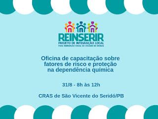Em São Vicente do Seridó, reinserir promove oficina sobre fatores de risco e proteção