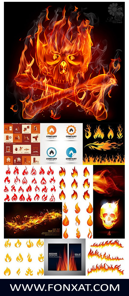 Download images vector design elements flames