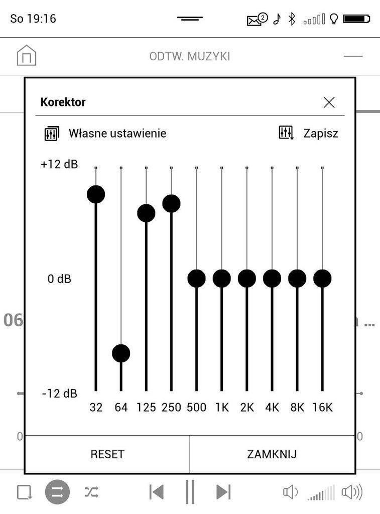 PocketBook Touch HD 3 – graficzny korektor dźwięku w odtwarzaczu muzyki