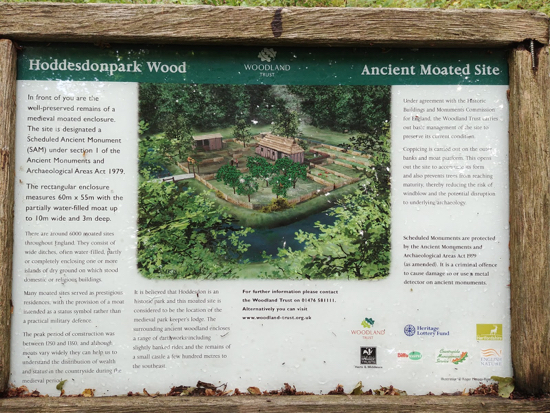 The information board for the medieval moated settlement close to the start of the walk Image by Hertfordshire Walker released under Creative Commons BY-NC-SA 4.0