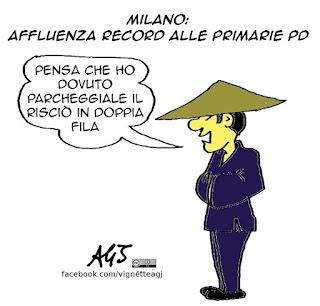 Primarie PD, cinesi, affluenza, Milano, satira vignetta