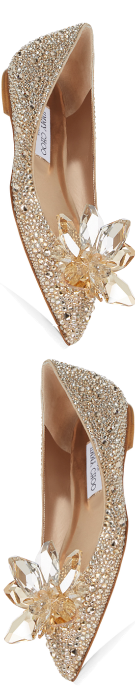 Jimmy Choo Attila Golden Crystal Covered Pointy Toe Flats