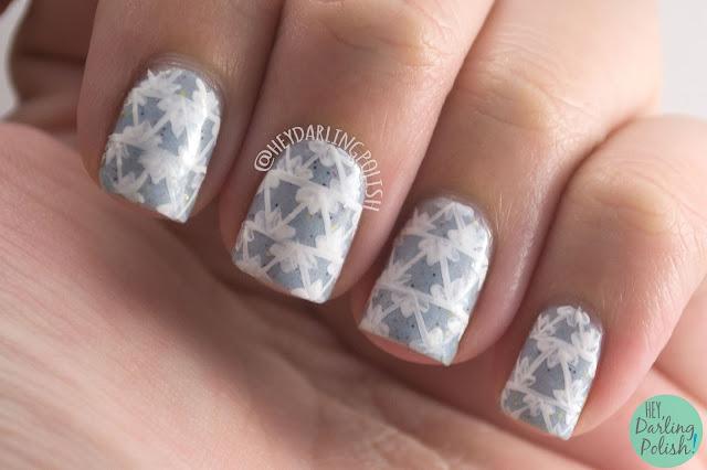 nails, nail art, nail polish, geometric, hey darling polish, naillinkup, nail art ideas linkup, triangles, renaissance cosmetics, l'hiver