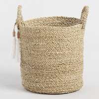 seagrass tote basket with tassels