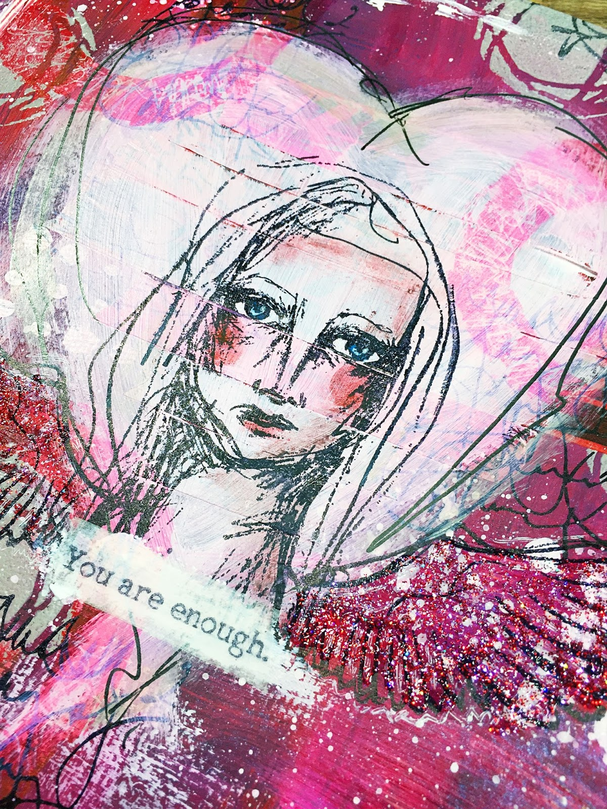 Inky Fairy Designs You Are Enough Art Journal Page With