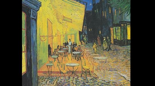Kafe Terasta Gece Resim Tablosu