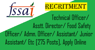FSSAI Recritment 2019 - 275 Posts