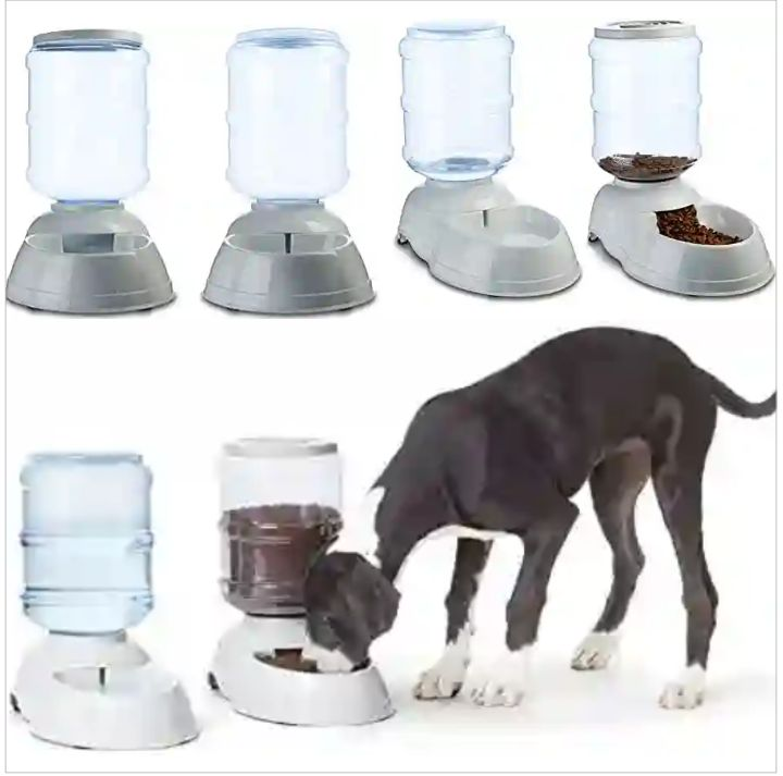 Pet Feeder and Waterer by AmazonBasics: Automatic Food/Water Dispenser for Dogs and Cats