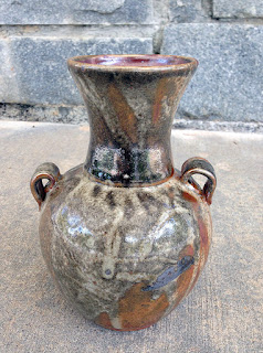 Wheel thrown pottery vase with shino glaze by Lori Buff