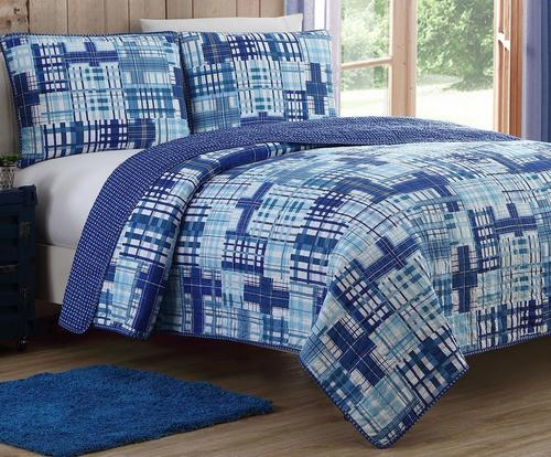 Kids Zone Colin Reversible Plaid Quilt Set