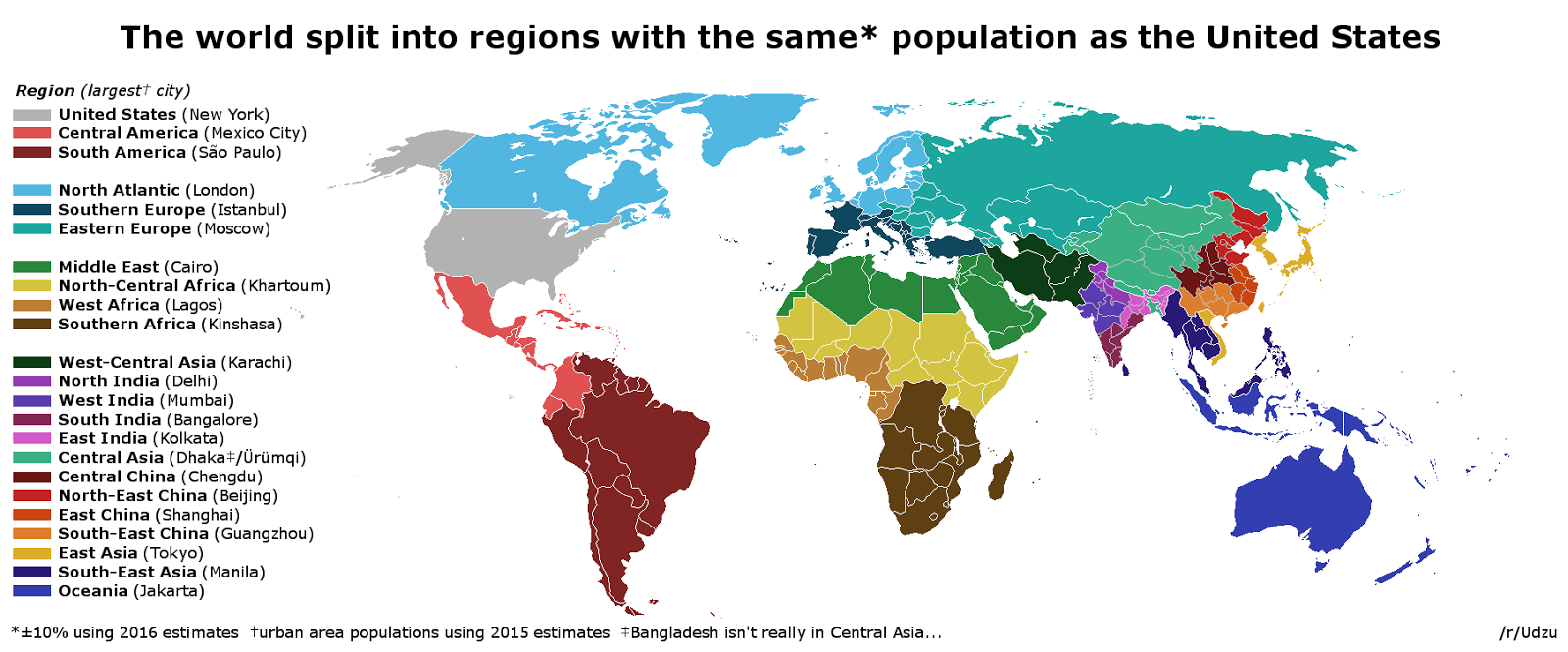 The world split into regions with the same population as the U.S.