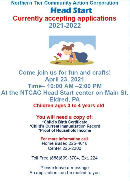 4-23 NTCAC Eldred Head Start Open House