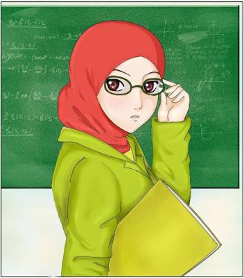 kartun muslimah membawa buku di kelas