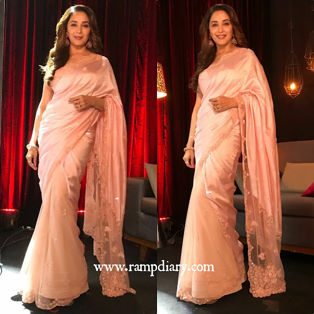 Madhuri Dixit in a Pink Sari by Jade by MK